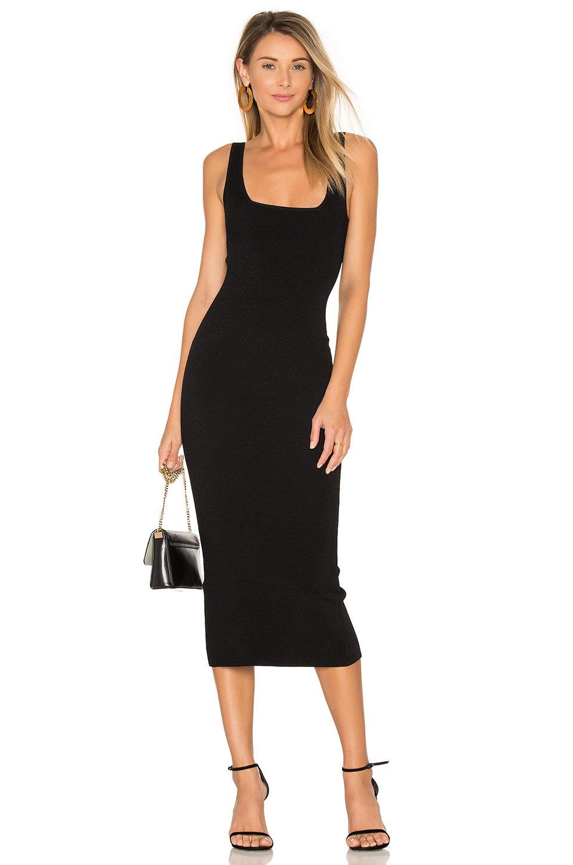 black square neck midi dress revolve