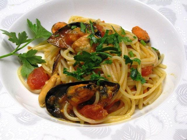 ligurian spaghetti with mussels