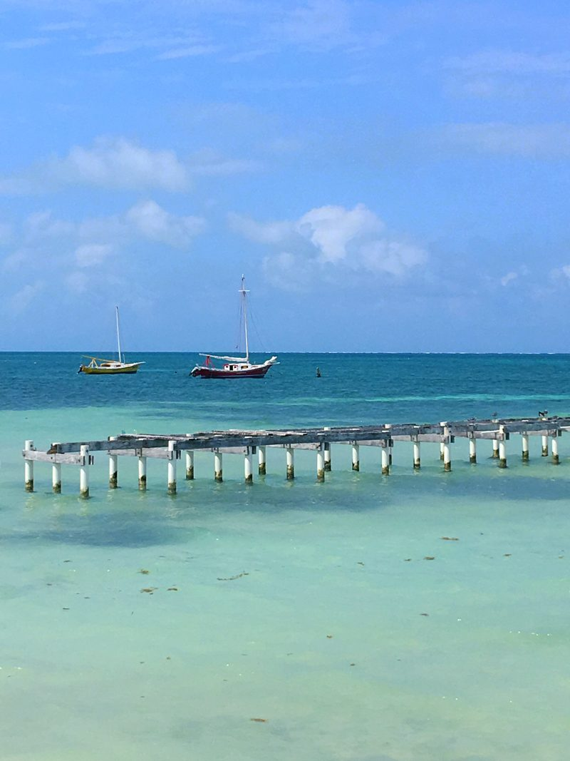 the view from the patio at the Rainbow Grill, Caye Caulker