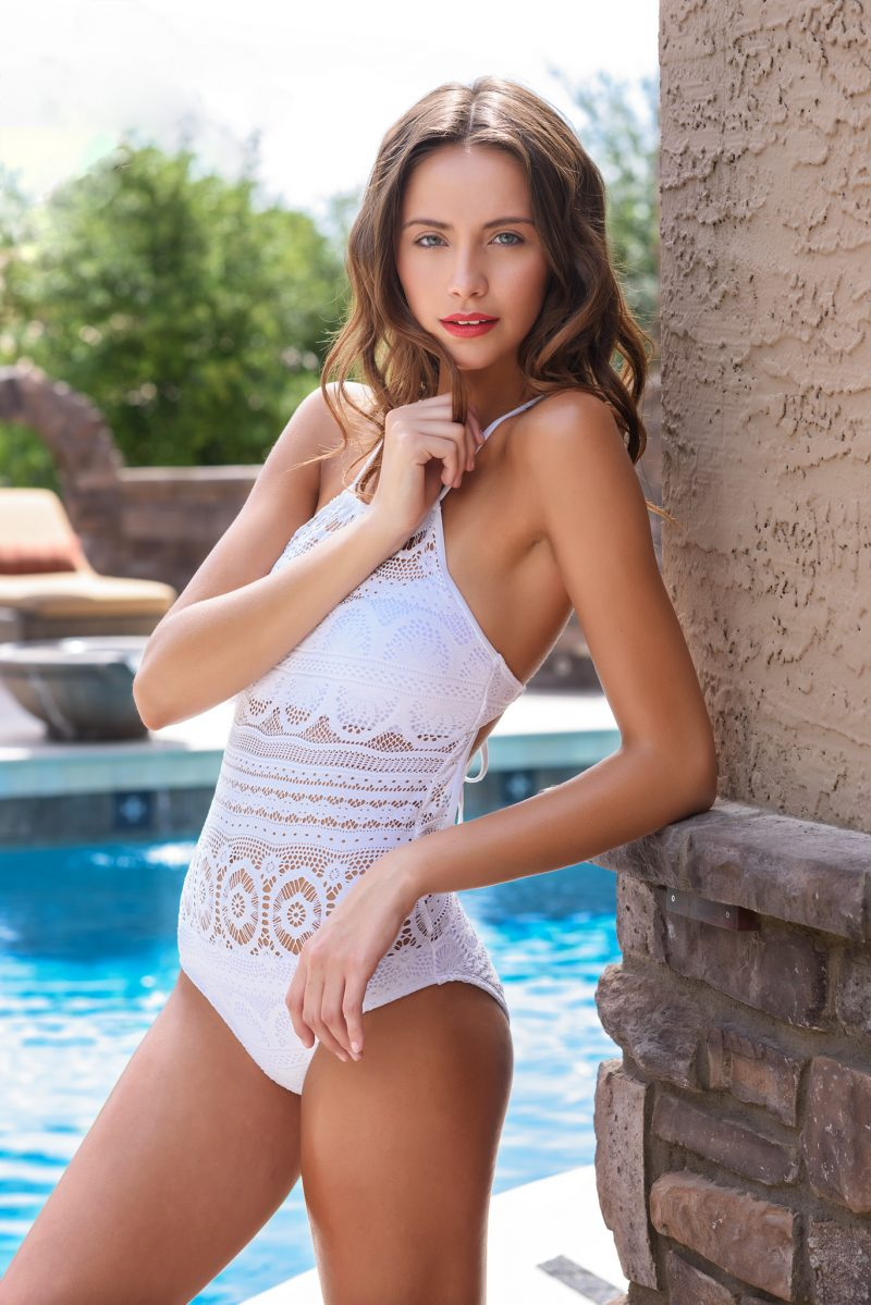 girl white swimsuit pool