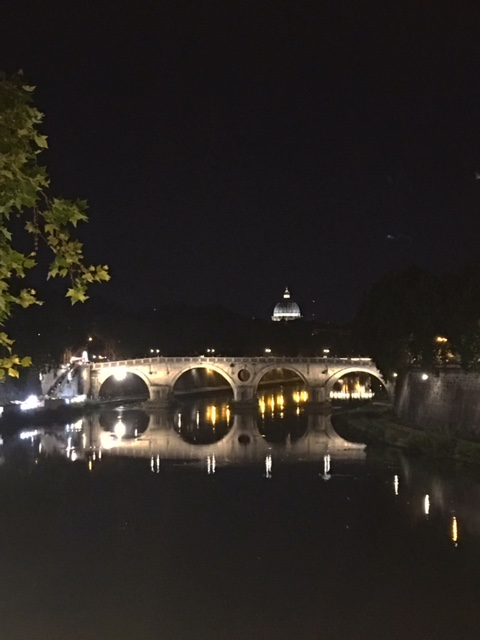 St Peters at night from the Garibaldi bridge